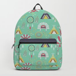 Indian Pattern Mint Backpack