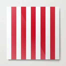 Philippine red - solid color - white vertical lines pattern Metal Print
