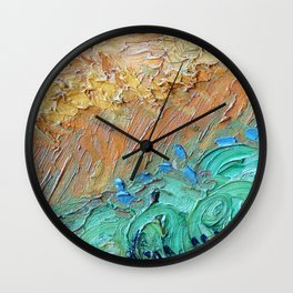 Wheat Field with Cypresses Brush Detail by Vincent van Gogh Wall Clock