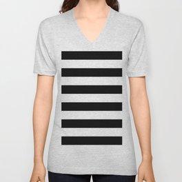 Black Bold Stripes Unisex V-Neck