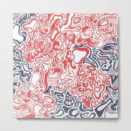 Orange and Blue Line Art Metal Print