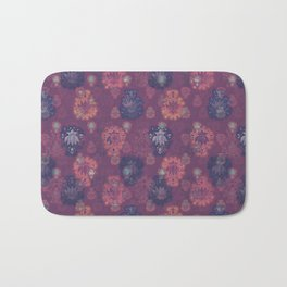 Lotus flower - mulberry woodblock print style pattern Bath Mat