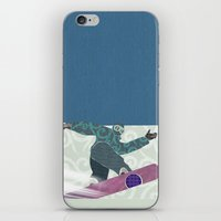 snowboarding iPhone & iPod Skins featuring Snowboarding by Aquamarine Studio