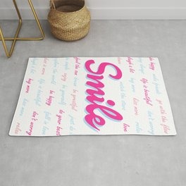 Smile, with positive quotes (light blue and pink version), motivational poster Rug