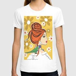 Bird Lady With Daisy Flowers T-shirt