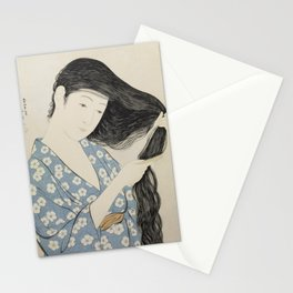 Woman in Blue Combing Her Hair - Hashiguchi Goyo Stationery Cards