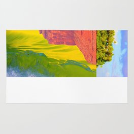 Upside down world Monument, Valley, Tropical, Wave, Tube, barrel, Surf, Collage Rug