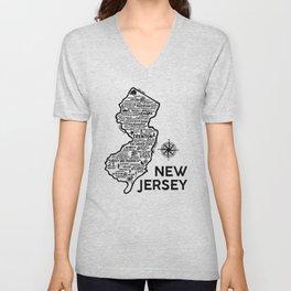 New Jersey Map  Unisex V-Neck