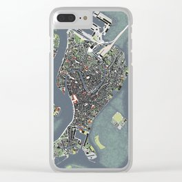 Venice city map engraving Clear iPhone Case