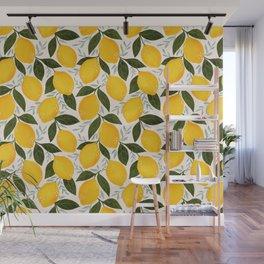 Mediterranean Summer Lemons Pattern Wall Mural