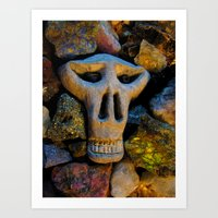 minerals Art Prints featuring skull and minerals by giol's