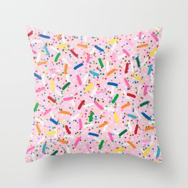 Rainbow Sprinkles on Strawberry Ice Cream Throw Pillow