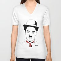 charlie chaplin V-neck T-shirts featuring Charlie Chaplin by ArpanDholi
