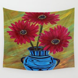 Blue vase with flowers/ still life  Wall Tapestry