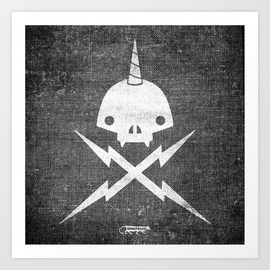 Yeticorn Skull & Bolts Art Print