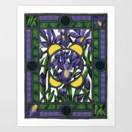Stained Glass Irises Art Print