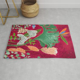 Magenta Jungle Painting, Monstera, Birds of Paradise Floral on Pink Jewel Tone Rug