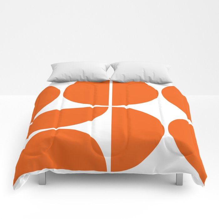 Mid Century Modern Orange Square Comforters