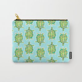Tortoise Pattern with aqua background Carry-All Pouch