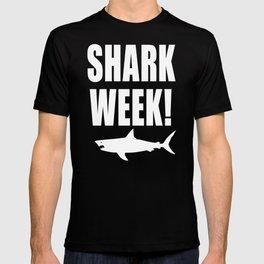 Shark Week, white text on black T-shirt
