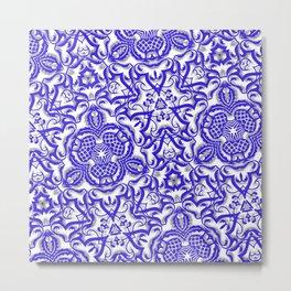 Blue antik lace Metal Print