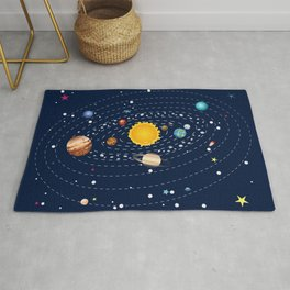 Cartoon solar system and planets around sun Rug