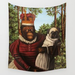 Monkey Queen with Pug Baby Wall Tapestry