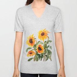 sunflower watewrcolor 2018 Unisex V-Neck