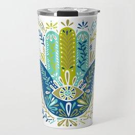 Hamsa Hand – Lime, Turquoise & Navy Palette Travel Mug