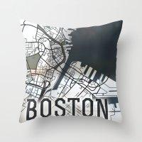 boston Throw Pillows featuring Boston by Sophie Calhoun