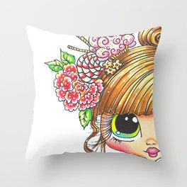 Sherri Baldy My Besties Sugar Plum Treats Big Eyed Art Throw Pillow