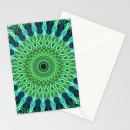 Green and blue mandala Stationery Cards