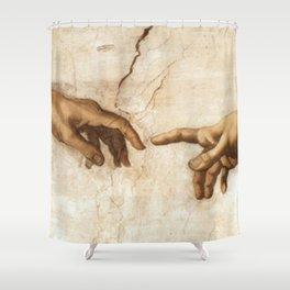 Michelangelo Creation of Adam Hands Shower Curtain