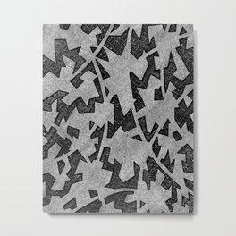 Interconnected Grey Shapes Metal Print