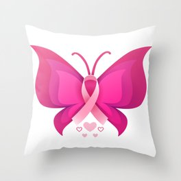Butterfly Pink Ribbon Throw Pillow