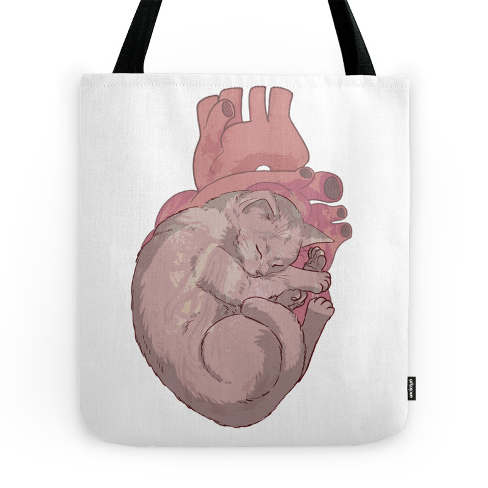 Cat Heart Tote Purse by fufunholand (TBG9514166) photo