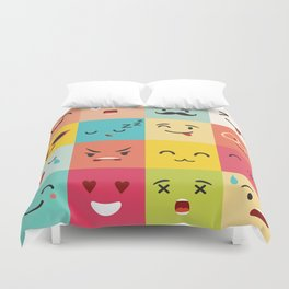 Emoticons vector pattern. Emoji square icons Duvet Cover