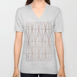 Modern geometric triangles faux rose gold pattern on white marble Unisex V-Neck