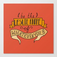 leslie knope Canvas Prints featuring Leslie Knope by Illustrated by Jenny