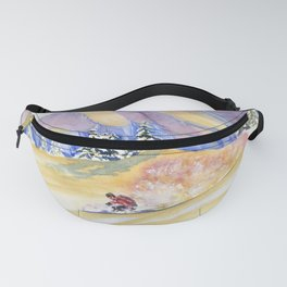 Powder Skiing Art Fanny Pack