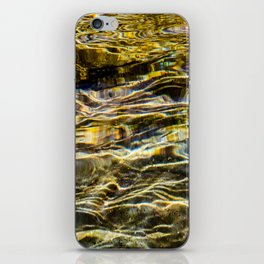 Prismatic Waves in Gold and Green iPhone Skin