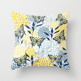 Floral and Butterflies Print, Blue and Yellow Throw Pillow