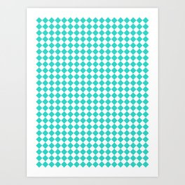 Small Diamonds - White and Turquoise Art Print