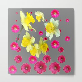 FUCHSIA FLOWERS & YELLOW DAFFODILS DESIGN Metal Print