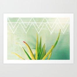 Aloe Vera Succulent with Chevron and Seafoam Background Art Print