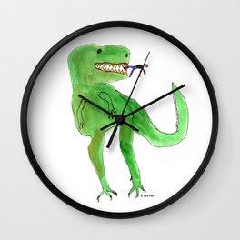Dinosaur and Tiny Man Wall Clock
