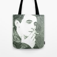 james franco Tote Bags featuring Mr Franco by Troy Salmon Art