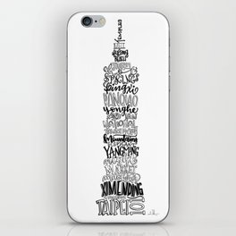 Hand Lettered Taipei 101 - Black and White iPhone Skin