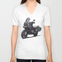 bmw V-neck T-shirts featuring BMW R1200GS by Ernie Young