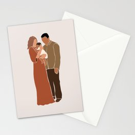 Family of 3, parents and child Stationery Cards